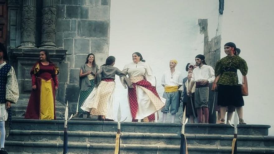 Recreación en la Plaza de España.