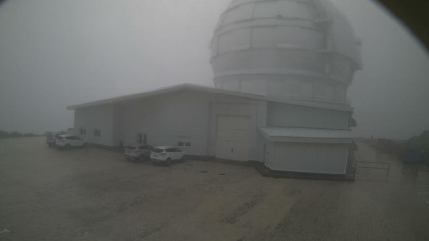 Imagen del entorno del Gran Telescopio Canarias, en el Observatorio del Roque, en la mañana de  este jueves, captada de la webcam del GTC.