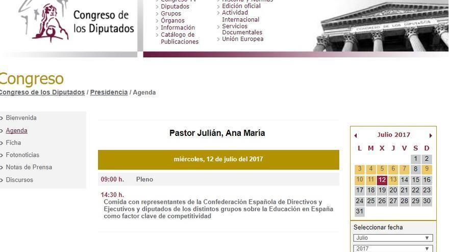 Agenda del 12 de julio de la presidenta del Congreso, Ana Pastor.