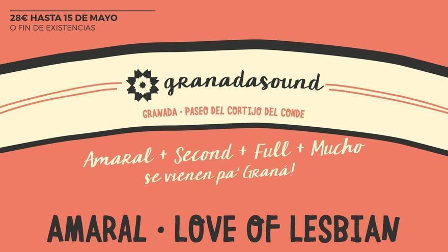 Amaral, Love of Lesbian o Fuel Fandango participarán en el Festival Granada Sound de septiembre