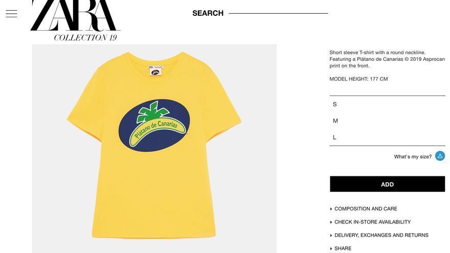 Página web de Zara con la camiseta que incluye la marca de Asprocan 'Plátano de Canarias'.