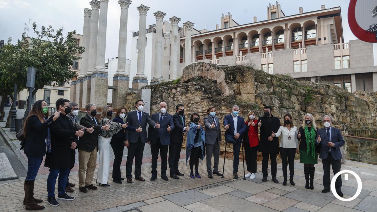 Autoridades tras la concesión a Córdoba de la base logística del Ejército de Tierra.