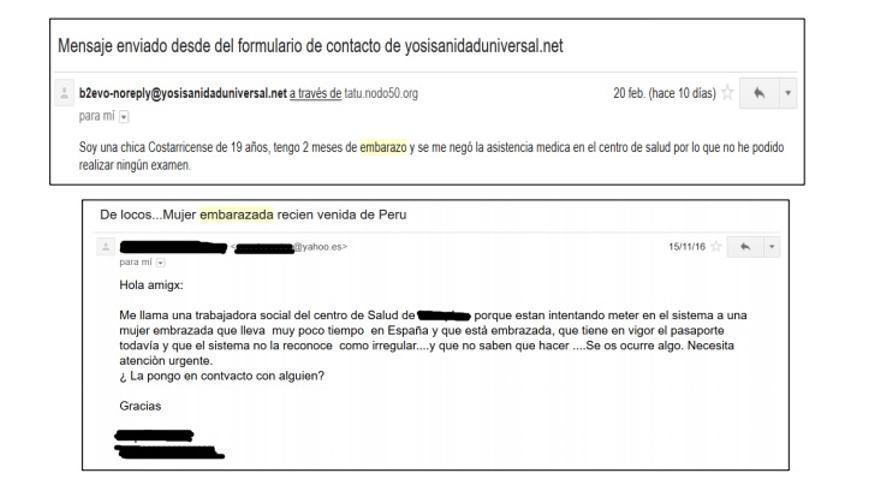 Dos de los correos recibidos por el colectivo Yo Sí Sanidad Universal que alertan de la exclusión sanitaria de embarazadas y menores sin papeles