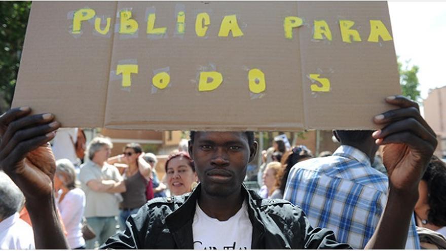 Manifestante en Madrid / Plataformas Sanidad Pública