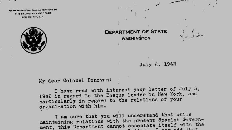Carta del secretario de Estado al jefe de la OSS tras la llegada de Aguirre a Nueva York