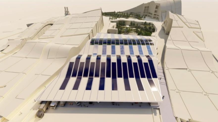 Recreación del nuevo edificio de la Ciudad de la Cultura que ocupará el espacio del nunca terminado teatro