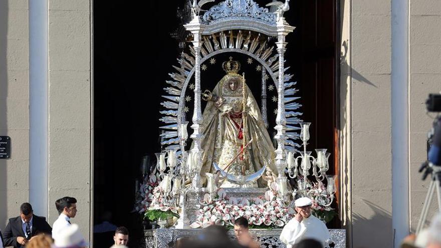 La Virgen de Candelaria este jueves 15 de agosto durante los actos religiosos con motivo de su festividad.