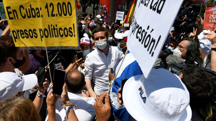 El presidente del PP, PabloCasado, en una marcha convocada en Madrid en defensa de los derechos humanos enCuba.