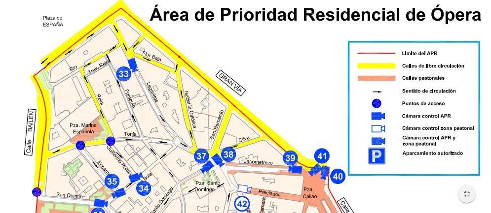 Mapa de calles cortadas para no residentes y cámaras del APR de Ópera pincha en la imagen para ampliar) | AYUNTAMIENTO DE MADRID
