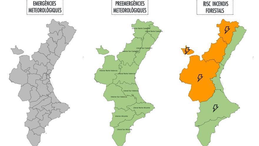 Mapa d'alertes d'incendis d'este dijous 6 de juliol