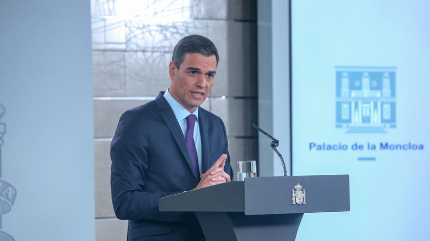 El presidente del Gobierno, Pedro Sánchez, en la rueda de prensa posterior al Consejo de Ministros.