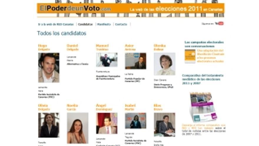 Información sobre los candidatos en esta página web.
