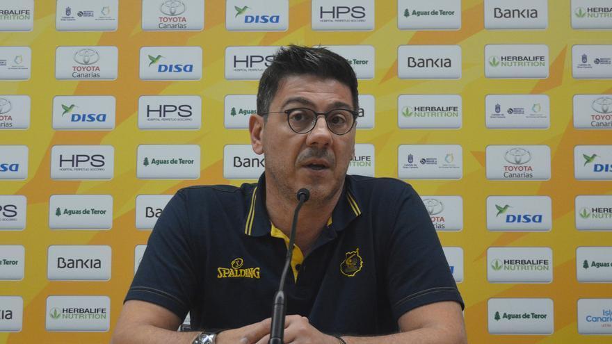 Fotis Katsikaris, en la rueda de prensa previa al duelo frente al Andorra