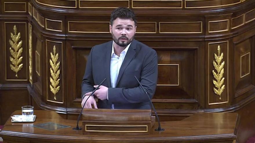 Gabriel Rufián, durante su intervención en el Congreso.