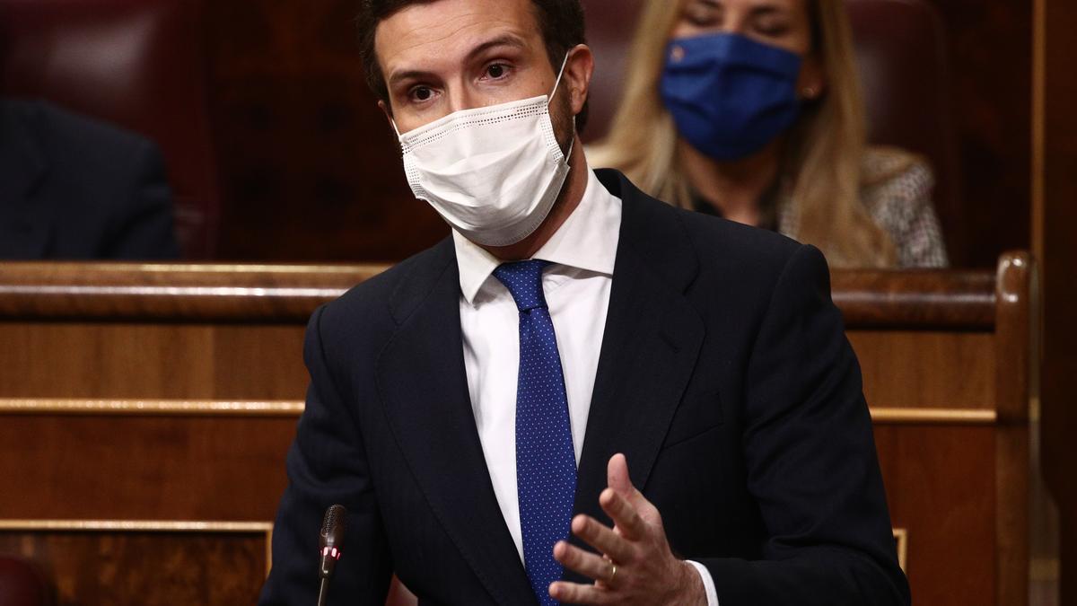El líder del PP, Pablo Casado, interviene durante una sesión de Control al Gobierno celebrada en el Congreso de los Diputados, en Madrid, (España), a 17 de febrero de 2021.