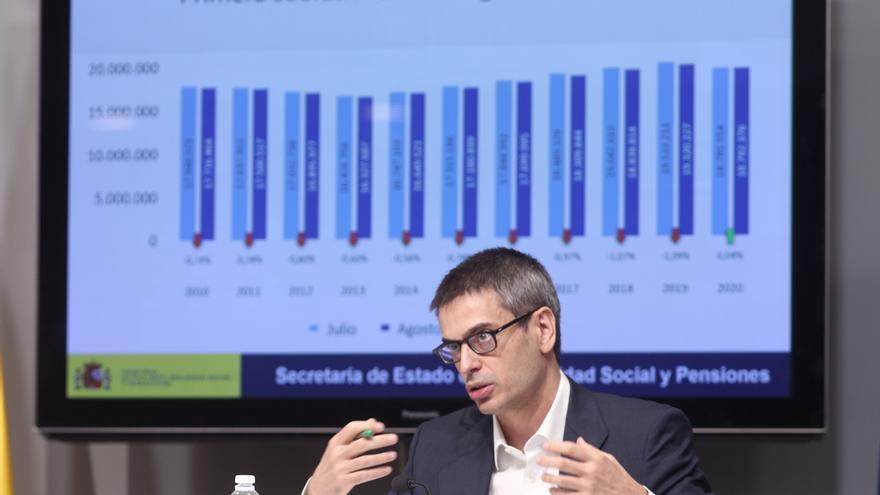 El secretario de estado de Seguridad Social y Pensiones, Israel Arroyo, presenta en rueda de prensa los datos del paro registrado y de afiliación a la Seguridad Social del mes de agosto, en Madrid (España), a 2 de septiembre de 2020.