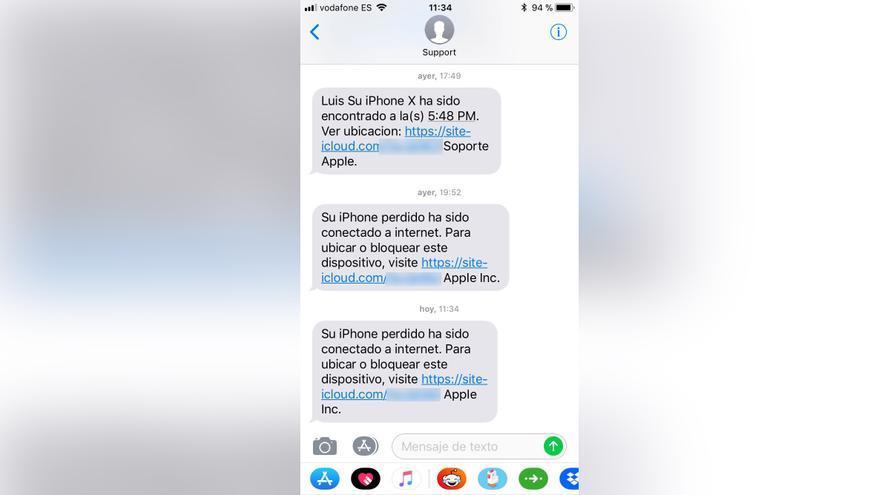 Captura de los mensajes de 'phishing' recibidos por Luis Herreras