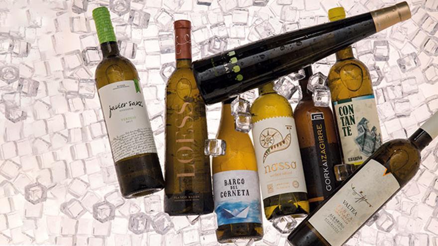 Selección de vinos blancos gourmet.