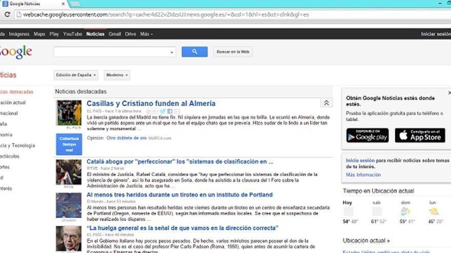 Apariencia de Google News (vista desde la caché de Google)