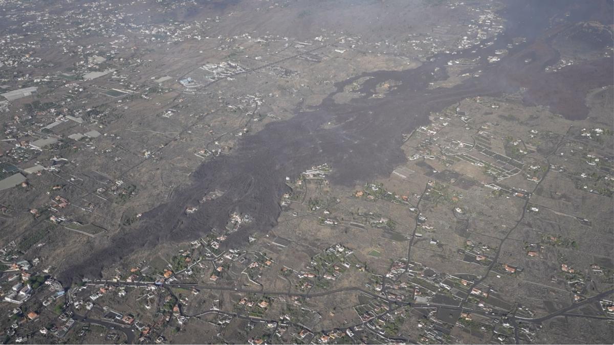 Zona afectada por la lava.