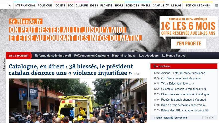 Portada de Le Monde por el 1-O