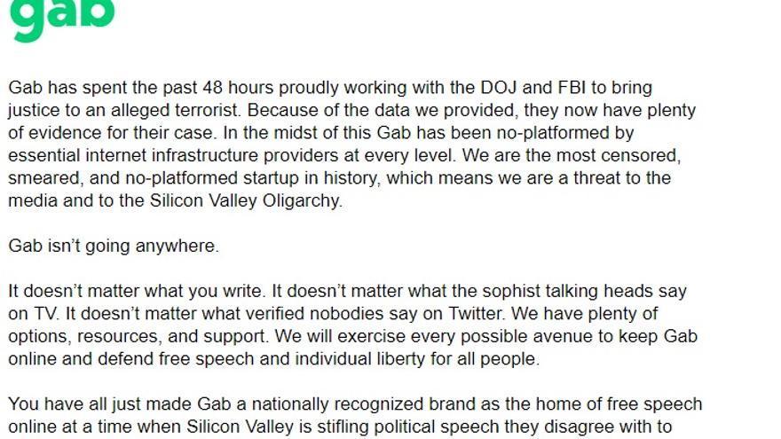 Una parte del comunicado de Gab, en inglés