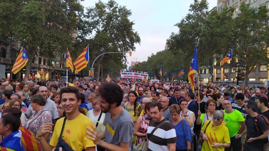 Manifestación en Barcelona en el segundo aniversario del 1-O