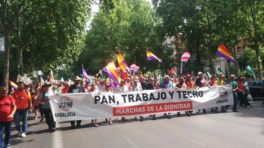 La columna procedente de Andalucía y Castilla-La Mancha se manifiesta en las Marchas de la Dignidad