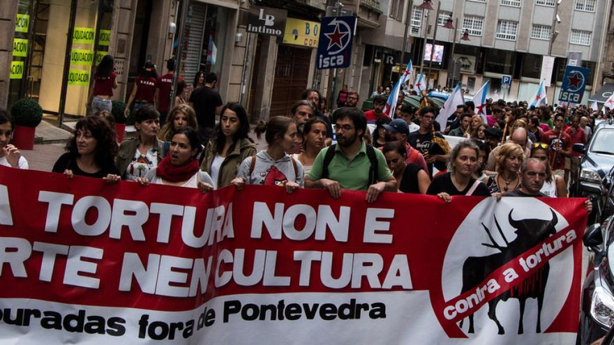Manifestación contra la feria taurina, el pasado año en Pontevedra