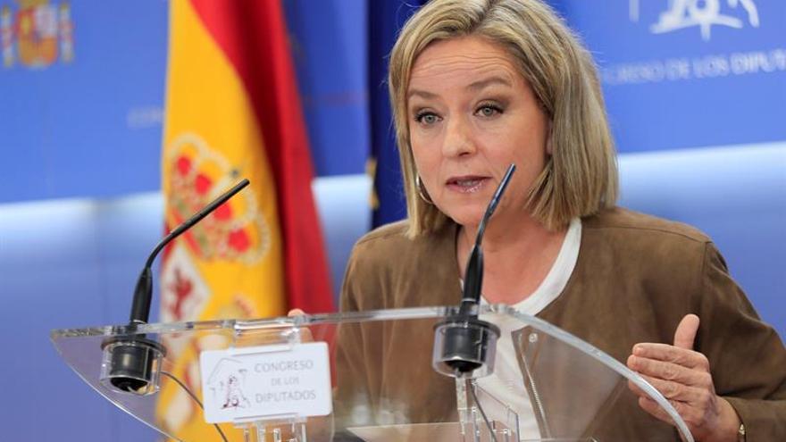 La diputada de Coalición Canaria Ana Oramas, durante una rueda de prensa celebrada en el Congreso de los Diputados.