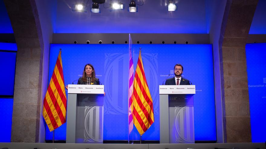 La consellera de la Presidencia y portavoz del Govern, Meritxell Budó y el vicepresidente de la Generalitat en funciones, Pere Aragonès comparecen en rueda de prensa tras la celebración del Consell Executiu.