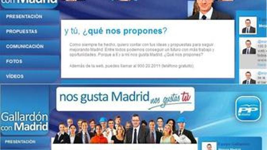 Dos imágenes de la web de Gallardón