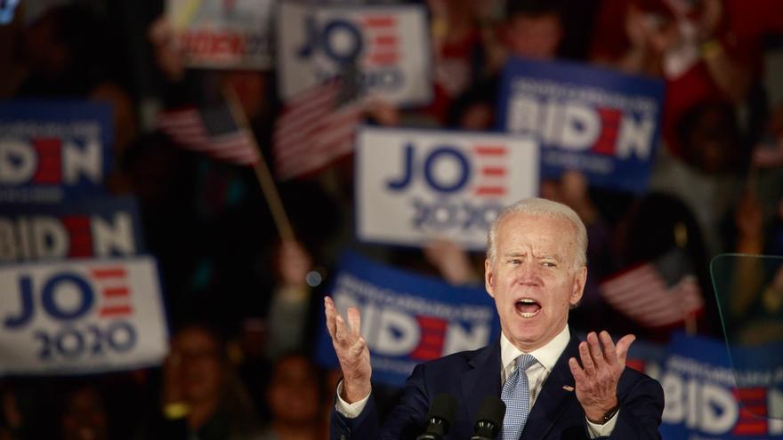 Joe Biden celebra su victoria en las primarias de Carolina del Sur el pasado fin de semana.