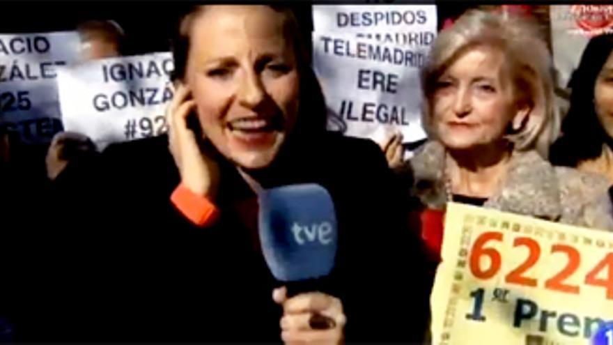 Protestas contra Telemadrid, en el directo de Mariló por la Lotería