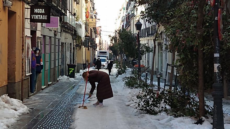 Calle la Palma, en el barrio de Malasaña, cinco días después del temporal Filomena.