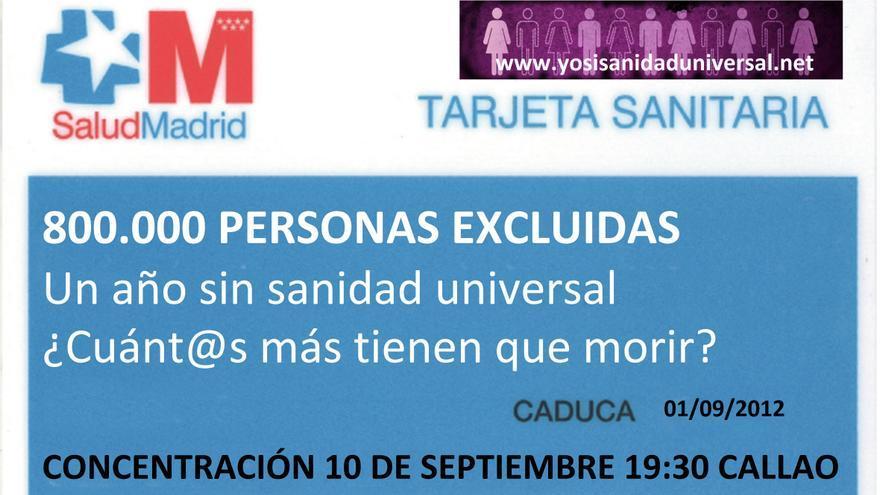 Cartel de la convocatoria de la concentración contra el Real Decreto 16/2012.