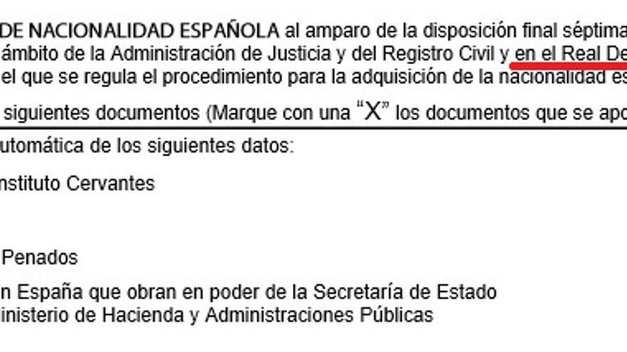 El Gobierno publica un modelo de solicitud de nacionalidad haciendo referencia a un real decreto que no existe: 'xx'.