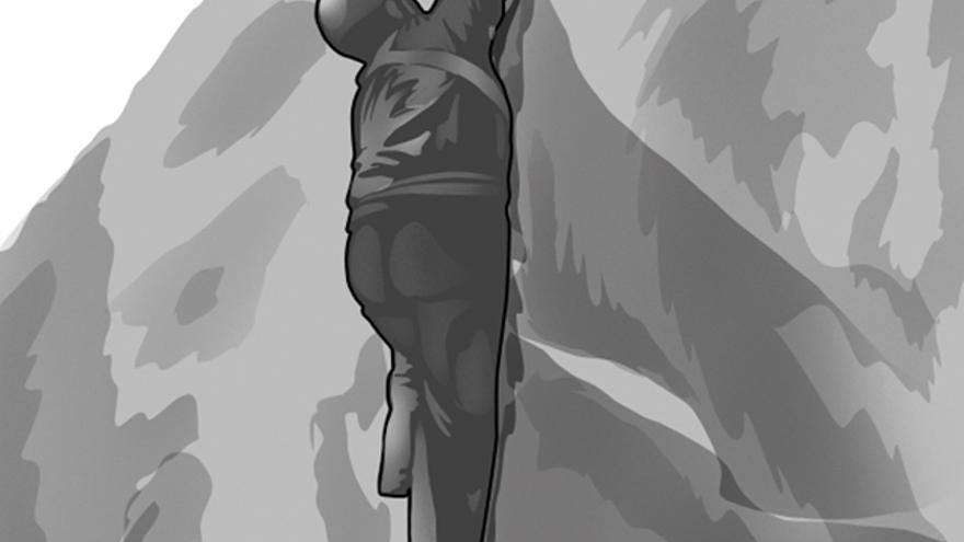Imagen 1. Fisura de puños coordinando brazo derecho con pierna izquierda para la progresión. Cerrojo de puño derecho con empotre cercano al cuerpo de puño izquierdo.