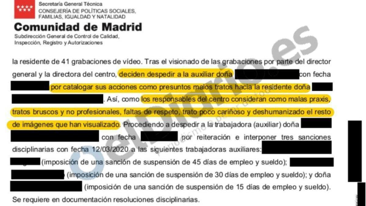 Extracto del acta de inspección de la residencia El Escorial