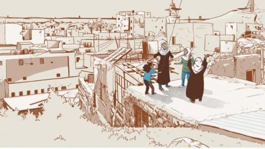 Una viñeta del cómic 'Gaza Amal'.