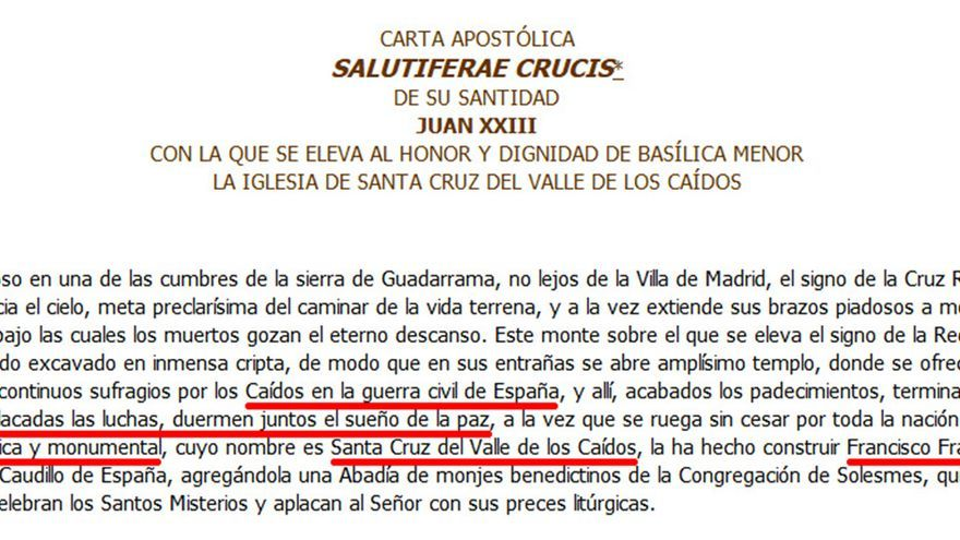 Fragmento de la carta escrita por el papa Juan XIII en 1960 sobre el Valle de los Caídos.