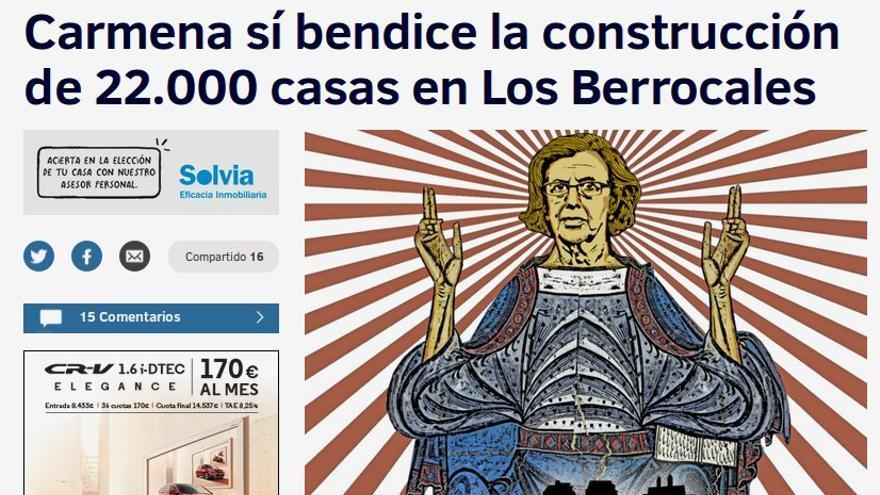 """""""Carmena sí bendice la construcción de 22.000 casas en Los Berrocales"""", titula 'El Mundo'"""