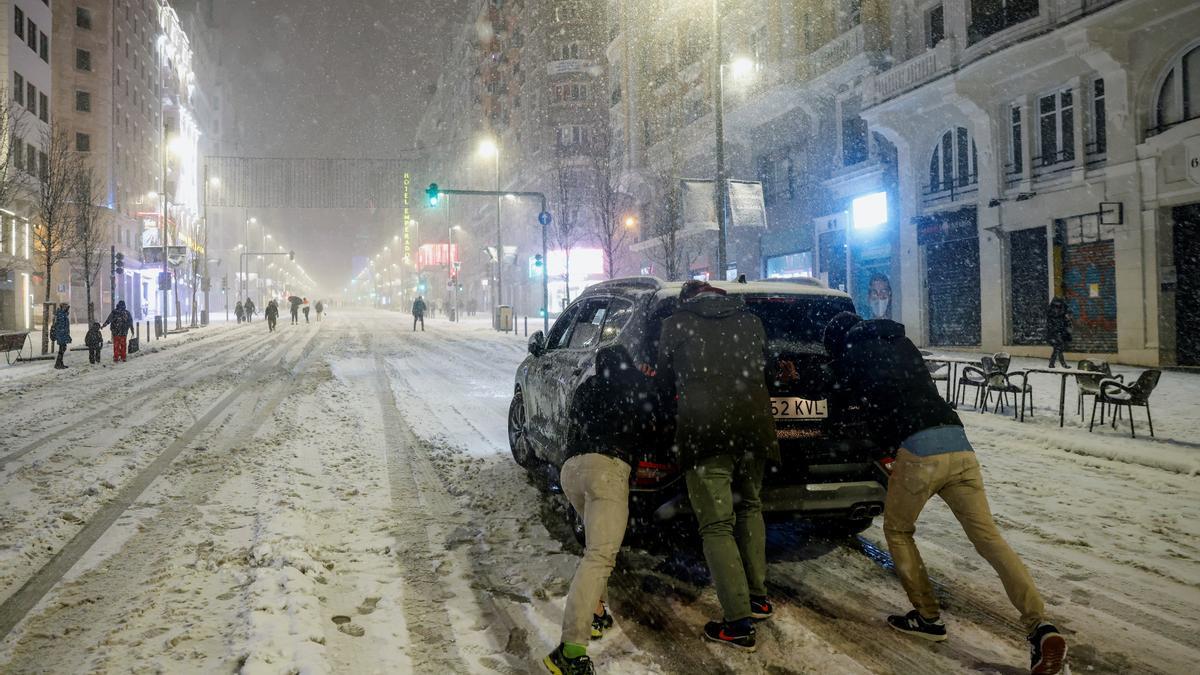 El temporal Filomena colapsa Madrid.