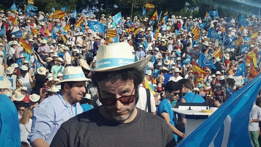 Selfie en el mitin de Rajoy de cierre de campaña en Valencia.