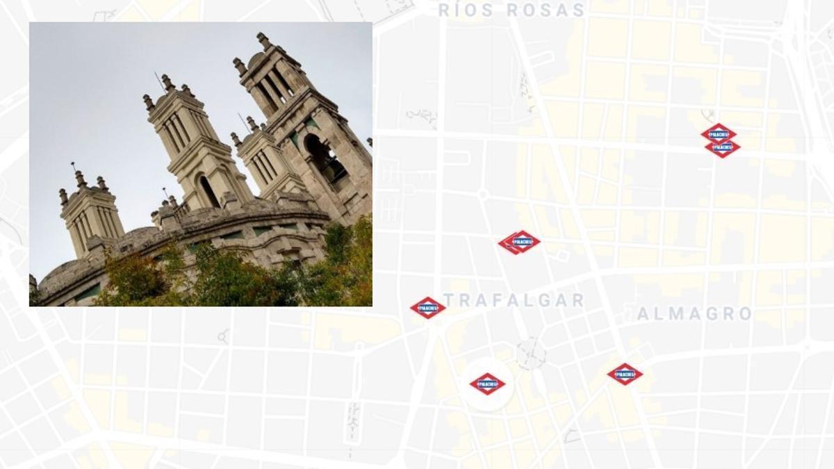 Detalle del mapa de la ruta, con imagen del Hospital de Jornaleros