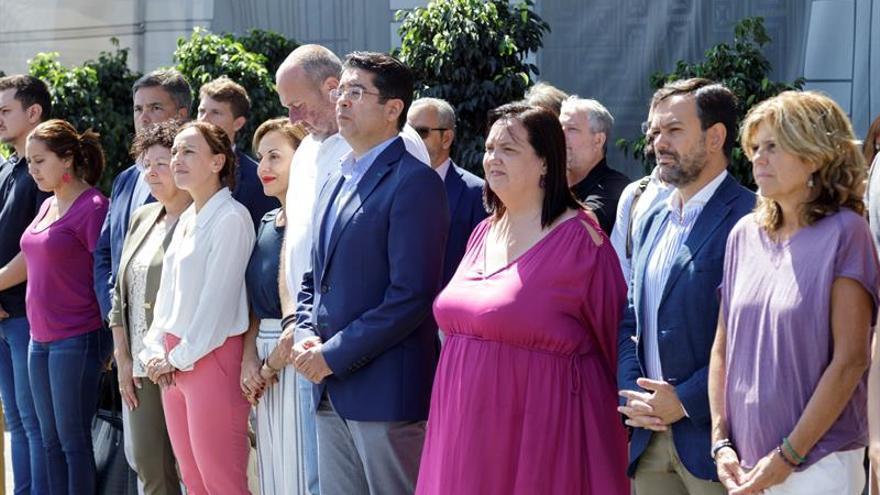 El Cabildo de Tenerife, con su presidente al frente Pedro Martín (4d,) guardó este miércoles un minuto de silencio en memoria de la mujer hallada muerta este domingo en La Laguna.