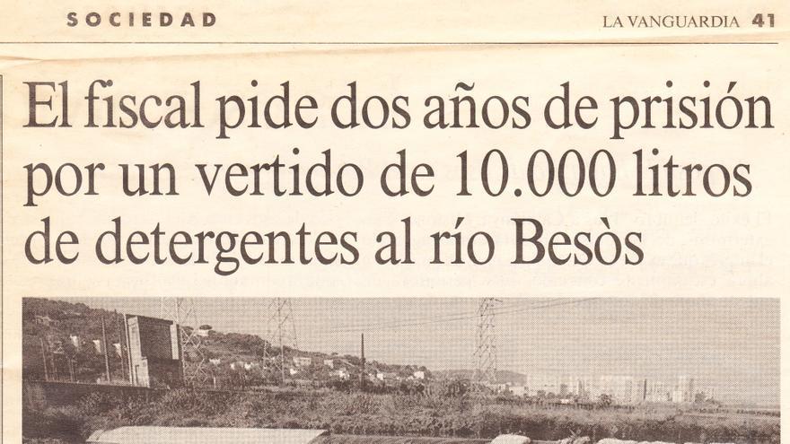 Recorte del diario La Vanguardia de un caso de contaminación de aguas en 1989