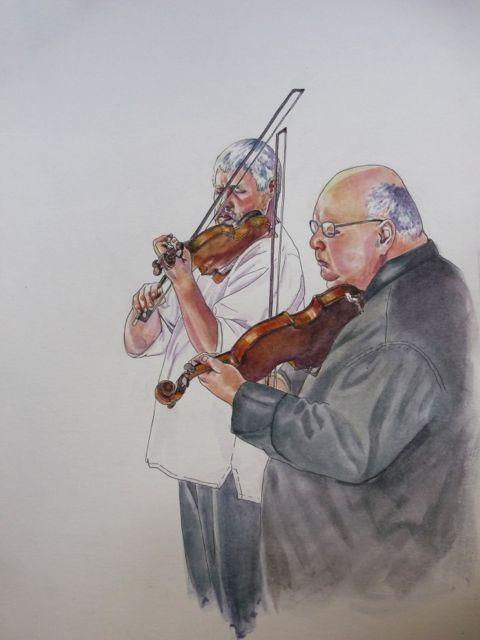 Violinistas, dibujos violinistas en acuarela