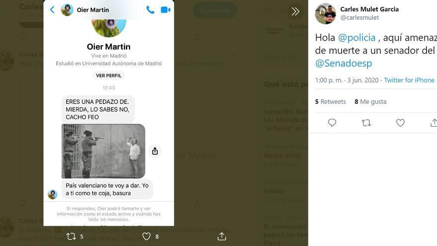 Amenaza de muerte al senador de Compromís, Carles Mulet.