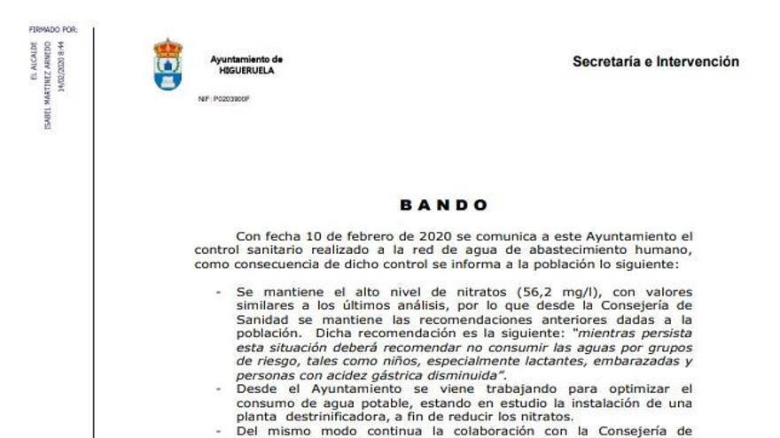 Bando del Ayuntamiento de Higueruela de febrero de 2020